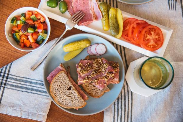 Montreal smoked meat on rye bread.
