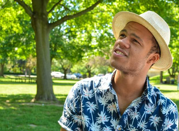 Jonah McIntosh in a park in Niagara-on-the-Lake, Ont., home of the Shaw Festival, earlier this year.