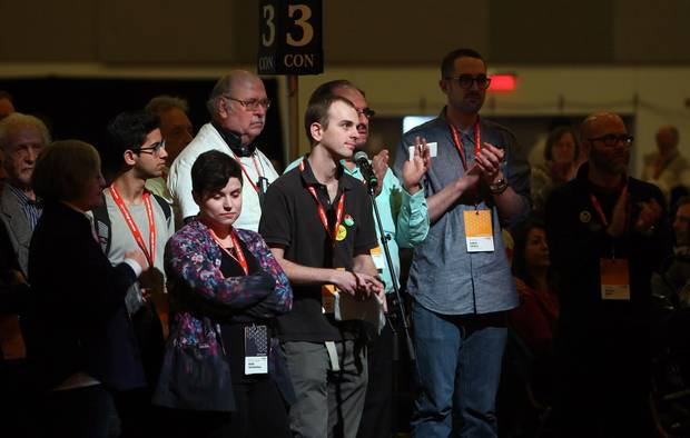 NDP delegates gather on the party convention floor in Ottawa on Feb. 16, 2018.