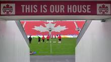 Canadian players go through a closed-door practice Thursday Oct. 11, 2012 at BMO Field in Toronto. Canada plays Cuba Friday in a World Cup qualifier. (Neil Davidson/THE CANADIAN PRESS)
