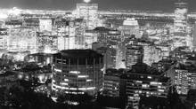 The skyline of Montreal at night, 1989 (Tibor Kolley/The Globe and Mail)