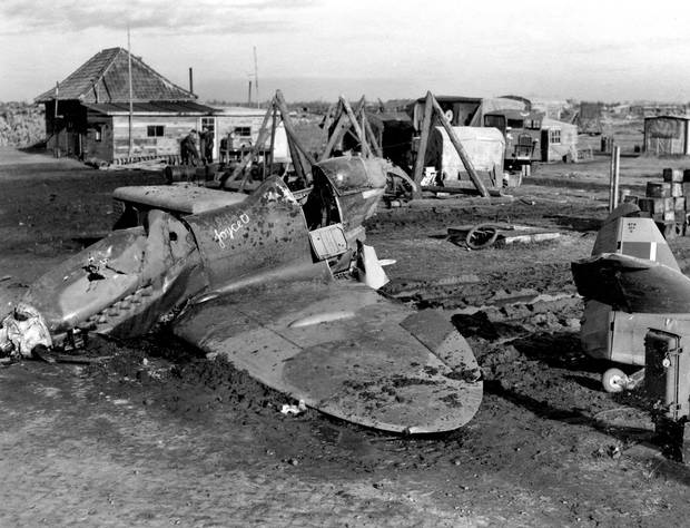 A damaged plane from the aftermath of a German raid on Jan. 1, 1945, against Allied squadrons at Eindhoven airport.