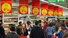 This file photo taken shows a supermarket in the western Paris suburb of La Defense. (PHILIPPE DESMAZES/AFP)