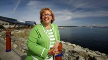 Green Party Leader Elizabeth May stands along the waterfront in Sidney, B.C., on Sept. 8, 2009, where she officially announced she is seeking the nomination for Saanich-Gulf Islands. (Deddeda Stemler/Deddeda Stemler for The Globe and Mail)