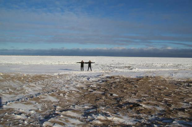 Anderson and VanVellen on the tundra near Churchill, Man.
