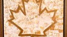 Stephen Harper's contribution to a April 24, 2012 art auction in support of Canadian Olympians. Harper was sent a large gold maple leaf, which he sent back personalized with his signature and the words Go Canada Go. -Submitted image