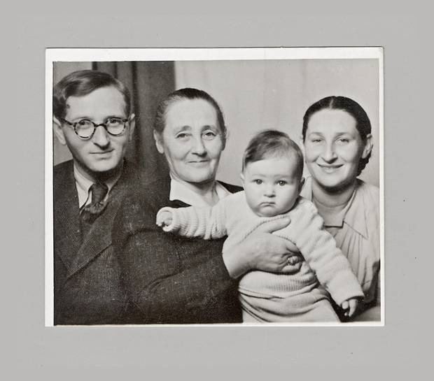 Rosalie Abella as a baby in the Stuttgart camp for displaced persons: Holding her is Zysla Krongold, her maternal grandmother, with the two flanked by her parents, Jack and Fanny Silberman, whose first-born, two-year-old son Julius, had been among the family members lost to the Holocaust.