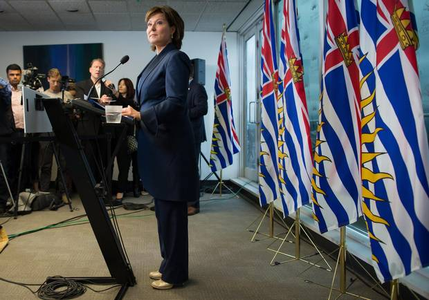 B.C. Premier Christy Clark listens to a question during a news conference in Vancouver, B.C., on Tuesday May 30, 2017.