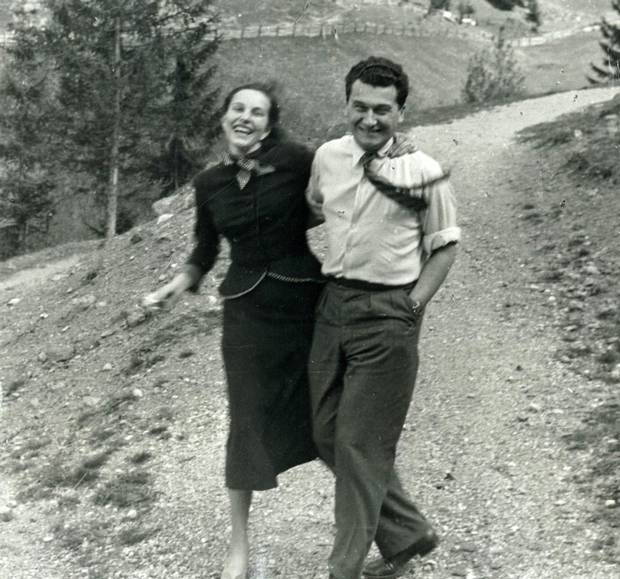 Pictured in their engagement photo, Sonja Wettstein would marry Thomas Bata in October 1946.