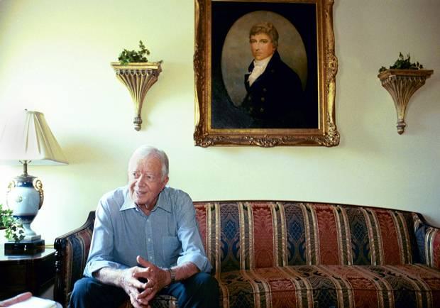 Former U.S. president Jimmy Carter at the Historic Plains Inn & Antique store in Plains, Ga., in 2003.