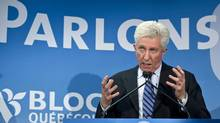 Bloc Quebecois Leader Gilles Duceppe unveils his campaign slogan - 'Let's talk' -on March 28, 2011 in Montreal. (Paul Chiasson/THE CANADIAN PRESS)