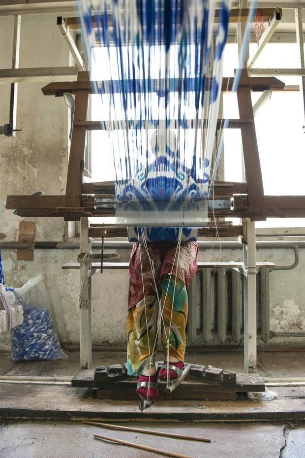 The process of creating ikat textiles.