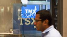 The Toronto Stock Exchange Broadcast Centre is shown in Toronto in this file photo. (Aaron Vincent Elkaim/THE CANADIAN PRESS)