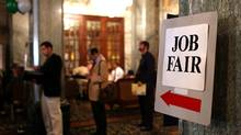 Job seekers wait in line to enter the San Francisco Hire Event job fair on November 9, 2011 in San Francisco, California. (Justin Sullivan/Justin Sullivan/Getty Images)