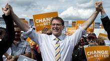 BC NDP leader Adrian Dix is seen during a campaign stop in Prince George, B.C., May 13, 2013. (Jonathan Hayward/THE CANADIAN PRESS)