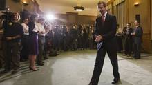 Ontario Premier Dalton McGuinty leaves after speaking to the media and making an announcement to resign from the leadership of the Ontario provincial Liberal party at Queen's Park in Toronto October 15, 2012 (Mark Blinch/Reuters)