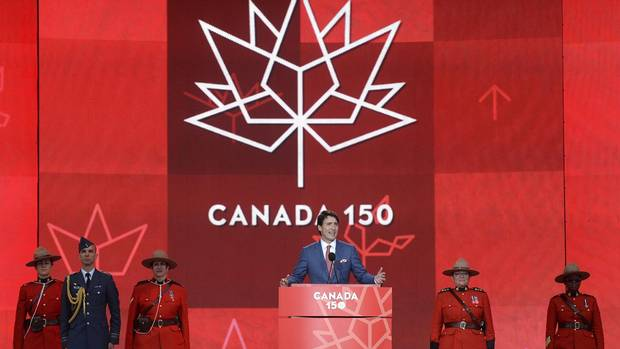 Prime Minister Justin Trudeau speaks during the Canada Day noon hour show on Parliament Hill in Ottawa on Saturday, July 1, 2017.