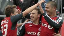 Toronto FC celebrates Danny Koevermans #14 goal against New England Revolution during MLS action at BMO Field October 22, 2011 in Toronto, Ontario, Canada. (Photo by Abelimages/Getty Images) (Abelimages/Getty Images)