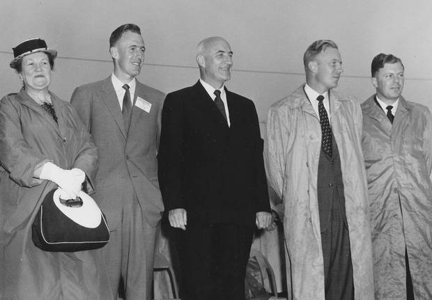 Happier times: K.C. Irving, his wife and sons attend the opening of the family's Saint John refinery in 1960. From left: Harriet, Arthur, K.C., James and John.