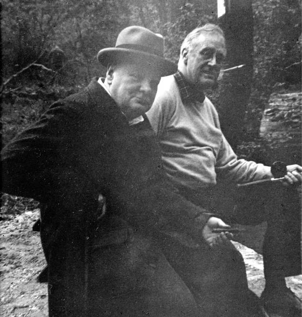 May, 1943: Franklin D. Roosevelt and Winston Churchill go fishing at Shangri-La, now Camp David.