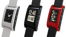 Money raised to support the Pebble watch on Kickstarter.com has set a record on the crowdfunding site that's designed to back startups.
