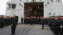 Peter MacKay, the Minister of National Defence, speaks to the crew of HMCS Halifax on Thursday, January 14, shortly before the ship left Halifax for Haiti. (Mike Dembeck)