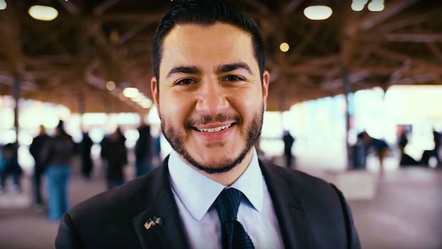 At 32 years old, Abdul El-Sayed, shown in an image from his campaign launch video, would, if elected, be the youngest U.S. state governor since Bill Clinton was elected in Arkansas in 1978.