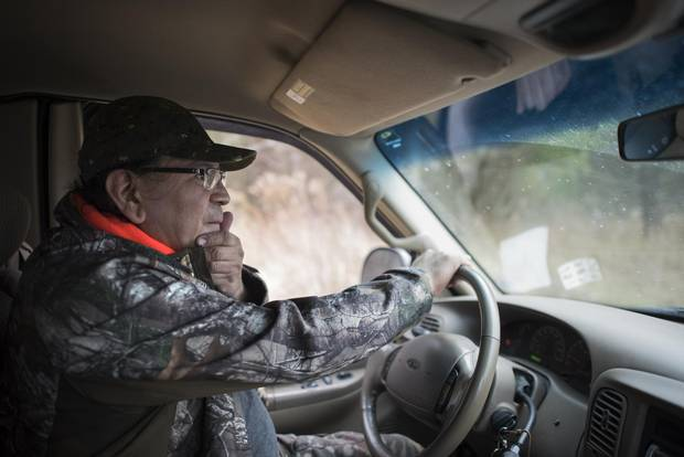 Brian Skye, co-leader of a six-day hunt, and member of the Haudenosaunee Wildlife and Habitat Authority, drives visitors into Short Hills Provincial Park on Dec. 5, 2017.
