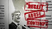 Liberal attack ads are playing up contempt charges and lack of transparency.
