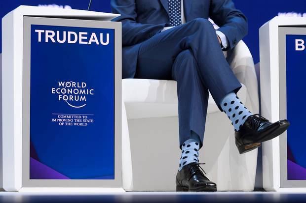 Jan. 23, 2018: Prime Minister Justin Trudeau sports a pair of polka dot socks at his speech to the World Economic Forum.