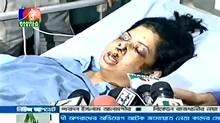 In this image taken from a Bangladesh newscast, Rumana Monzur speaks to reporters from her hospital bed. (Priyo.com)