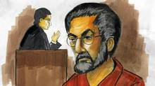 In this courtroom sketch, Tahawwur Hussain Rana, charged with plotting a terrorist attack on a Danish newspaper, appears before federal Magistrate Judge Nan Nolan on Wednesday, Dec. 2, 2009, in Chicago. Nolan, saying she wanted to study the evidence, postponed a decision on whether to set bond for Rana at least a week. (Verna Sadock/Verna Sadock/AP)