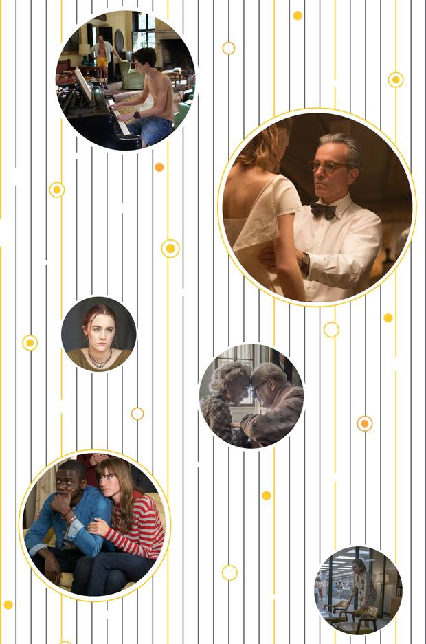 Scenes from the Oscar-nominated films Call Me By Your Name, Phantom Thread, Lady Bird, Darkest Hour, Get Out and The Post.