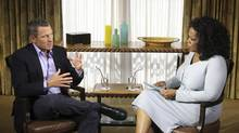 Cyclist Lance Armstrong is interviewed by Oprah Winfrey in Austin, Texas, in this January 14, 2013 handout photo courtesy of Harpo Studios. (George Burns/Reuters)