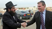 Rabbi Chaim Mendelsohn accompanies Foreign Affairs Minister John Baird during his visit to Israel on Jan. 31, 2012. (Mati Milstein/Mati Milstein for The Globe and Mail)