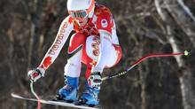 Canada's Marie-Michèle Gagnon jumps during a women's downhill training run for the Sochi 2014 Winter Olympics on Feb. 8, 2014, in Krasnaya Polyana, Russia. (Luca Bruno/The Associated Press)