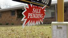 A contract pending sign is shown in Richland Hills, Texas, in this file photo. (Donna McWilliam/AP)