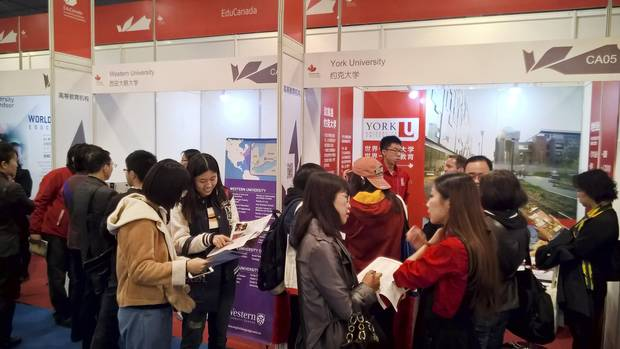 A Canadian university kiosk is set up at the 2017 China Education Expo in Beijing in October.