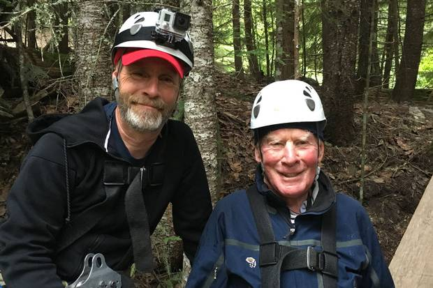 John Ferrie, left and his father, Jock, 89, went ziplining to fulfil Jock's 89th birthday request. The Ziptrek Ecotours package in Whistler they experienced consisted of 10 zips, one of them more than two kilometres long with riders reaching speeds of about 100 kilometres an hour.