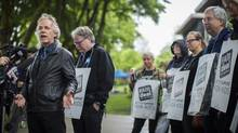 BCTF  President Jim Iker speaks to the media at Charles Dickens Elementary School in Vancouver May 26, 2014 on the first day of rotating strikes. (John Lehmann/The Globe and Mail)