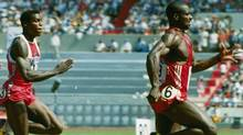 Sprinter Ben Johnson of Canada, right, leads the pack to win the 100-meter dash finals in Olympic competition Saturday in Seoul, Korea, Sept. 24, 1988. (Associated Press)