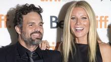 "Gwyneth Paltrow (right) and Mark Ruffalo pose on the red carpet at the gala for the new movie ""Thanks For Sharing"" during the 2012 Toronto International Film Festival in Toronto on Saturday Sept. 8, 2012. (CP)"