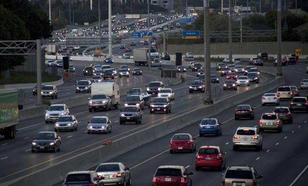 Traffic on Highway 401 in Toronto.