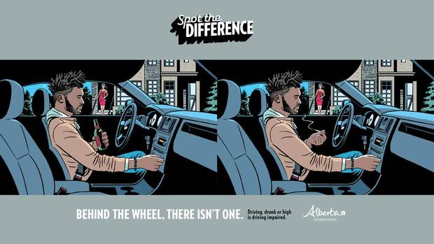 An ad from the Alberta government's Spot the Difference campaign to education young people about the dangers of marijuana.