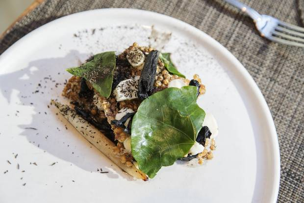 A dish made with wild, hand-lined North Atlantic Cod dish made from Fogo Island Fish, is posed at the The Chase Fish and Oyster restaurant in Toronto, Friday November 24, 2017.