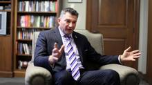 Conservative MP James Bezan gestures during an interview in his Parliament Hill office Jan. 31, 2013 in Ottawa. (Dave Chan/Dave Chan)