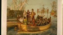 Christopher Columbus bidding farewell to the Queen of Spain on his departure for the New World, August 3, 1492. Lithograph by L. Prang & Co., 1893. (Library of Congress)