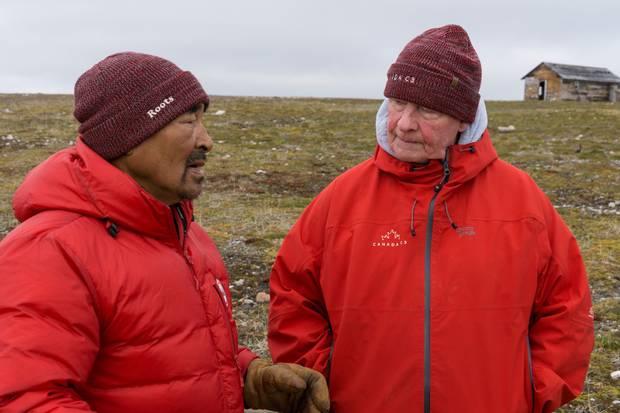 Mr. Johnston speaks with Roger Hitkolok at Bernard Harbour, Nunavut.