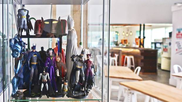 The trophy case full of Batman figurines suggests Ildsjel isn't your usual co-working space.