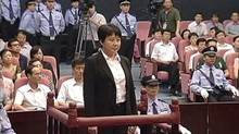 Gu Kailai, wife of ousted Chinese Communist Party Politburo member Bo Xilai, stands trial for murder Thursday. (REUTERS TV/Reuters)